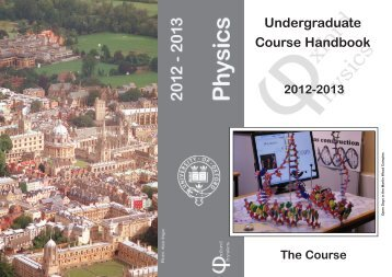 Undergraduate Course Handbook - University of Oxford Department ...