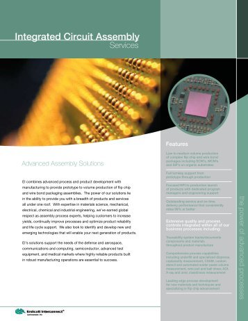 Integrated Circuit Assembly - Endicott Interconnect