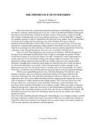 THE IMPORTANCE OF INTERNSHIPS - Dallas Theological Seminary