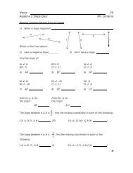 Name 20 Algebra 2 Slope Quiz Mr. Londino - What Not How