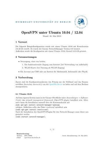 OpenVPN unter Ubuntu 10.04 / 12.04 mit NetworkManager