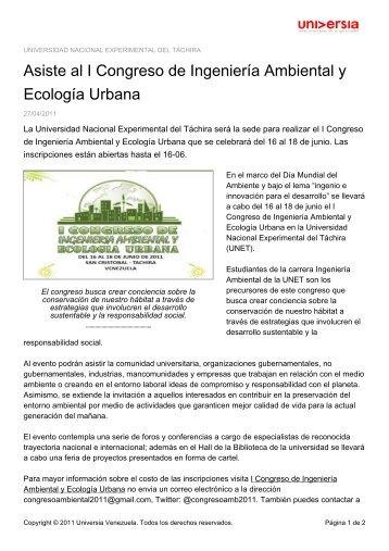 Asiste al I Congreso de Ingeniería Ambiental y Ecología Urbana