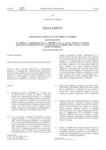 Regulamentul delegat (UE) nr. 486/2012 al Comisiei din ... - EUR-Lex