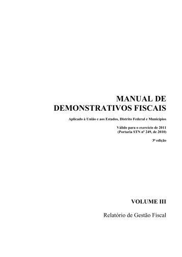 Volume III - Tesouro Nacional - Ministério da Fazenda