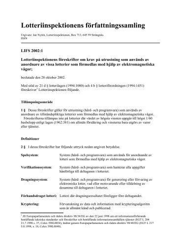 LIFS 2002:1 Lotteriinspektionens föreskrifter EMV-lotterier