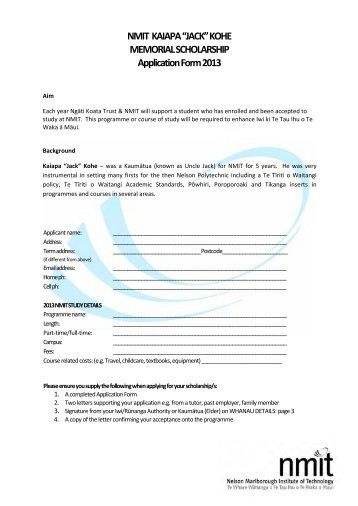 Application Form - Ngati Koata Trust