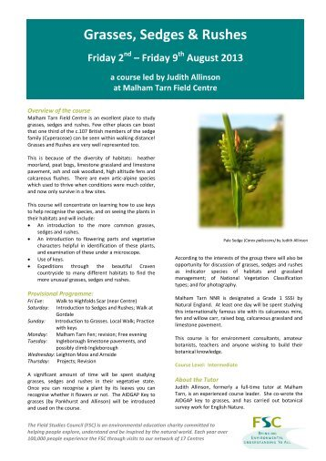 Grasses, Sedges and Rushes - Field Studies Council
