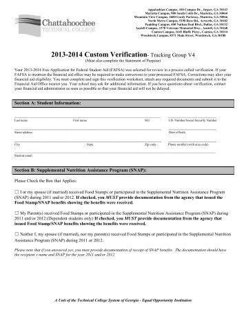 V4 Custom Verification Worksheet - Chattahoochee Technical College