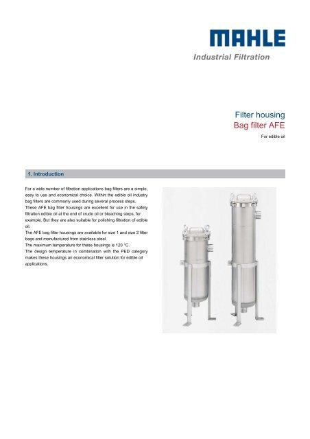 Filter housing Bag filter AFE - MAHLE Industry - Filtration