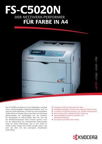 Spezifikationen FS-C5020N - 1a-gebrauchte-Drucker.de