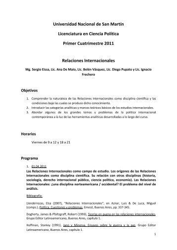 Introducción de las RRII - Eissa - UNSAM - 2011 - Sociedad ...