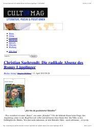 Christian Saehrendt: Die radikale Absenz des Ronny ... - Applaus