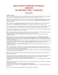 reglement sportif general 2009/2010 du district de l' essonne - Footeo