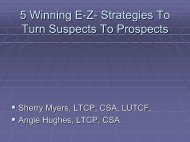 LTC 801 -- 5 Winning E-Z Strategies To Turn Suspects To Prospects
