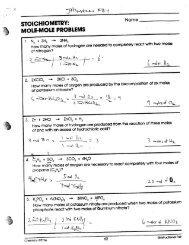 Stoichiometry Packet Answer key