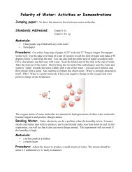Polarity of Water: Activities or Demonstrations