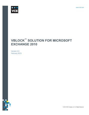 Vblock Solution for Microsoft Exchange 2010 - VCE