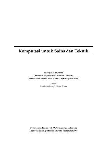 Komputasi untuk Sains dan Teknik - Universitas Indonesia