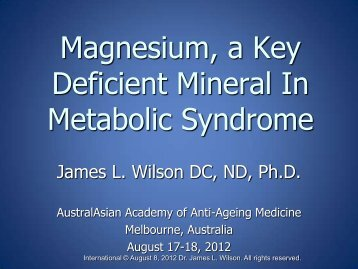 Magnesium in Metabolic Syndrome - Dr James Wilson - HyperMED