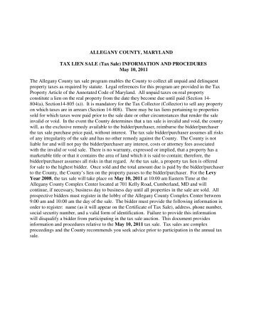 ALLEGANY COUNTY, MARYLAND TAX LIEN SALE (Tax Sale ...