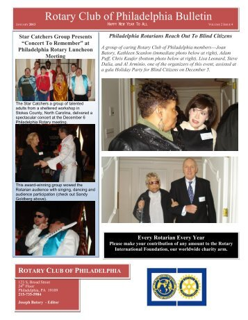 Rotary Club of Philadelphia Bulletin - District 7450