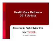 Health Care Reform – 2013 Update - Reed Smith