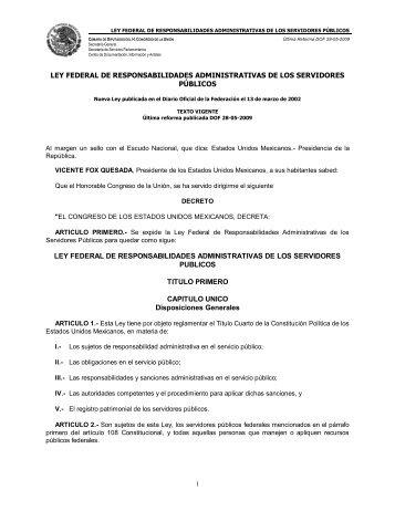 ley federal de responsabilidades administrativas de los servidores ...