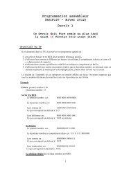 Programmation assembleur (8SIF107 – Hiver 2012) Devoir 1 - UQAC