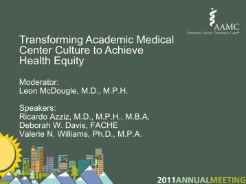 Transforming Academic Medical Center Culture to Achieve Health ...
