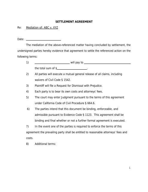 Settlement Agreement Form Agreement Mediate Com