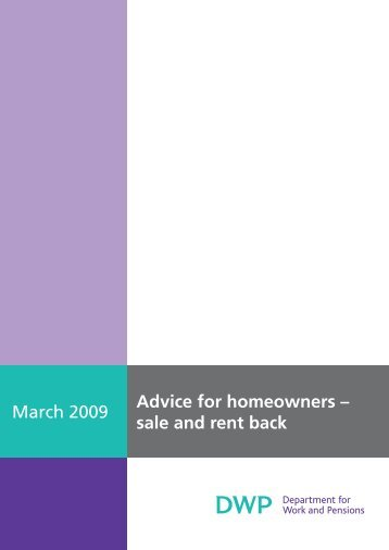 Advice for homeowners – sale and rent back March 2009 - Employers
