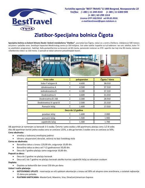 Zlatibor Specijalna Bolnica äœigota Best Travel Beograd