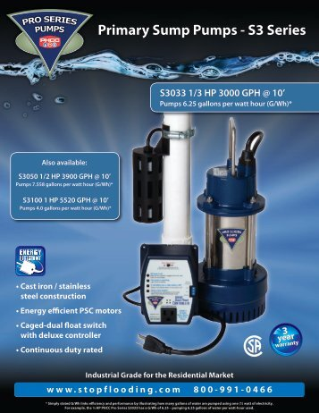 Pumps 6.25 gallons per watt hour (G/Wh)