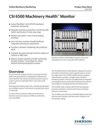 CSI 6500 Machinery Health™ Monitor - PCMS Engineering