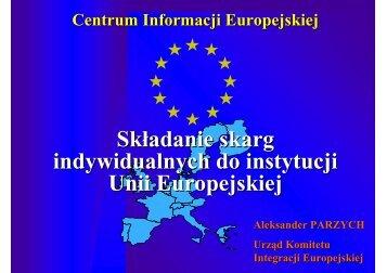 Składanie skarg indywidualnych do instytucji Unii Europejskiej