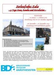 Reiseausschreibung Kuba 24.7.