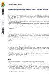 regolamento incarichi esterni 2012 - Comune di Cinisello Balsamo