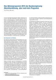 Jürgen Reichel: Das Aktionsprogramm 2015 der Bundesregierung