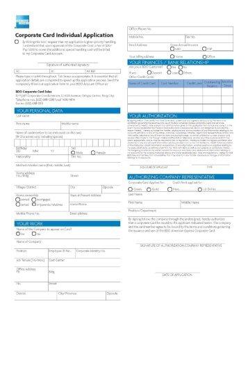 Amerian Express Corporate Card - Individual - BDO