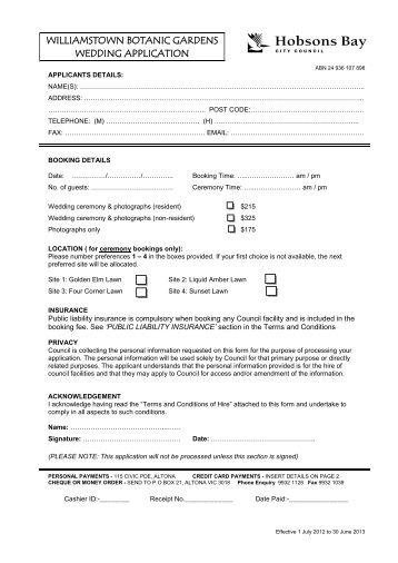 williamstown botanic gardens wedding application - Hobsons Bay