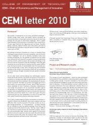 CEMI letter 2010 - Chair of Economics & Management of Innovation
