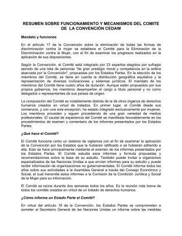 resumen sobre funcionamiento y mecanismos del comite de ... - IIDH