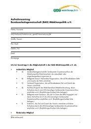 Mitgliedsantrag - Bundesarbeitsgemeinschaft Mädchenpolitik