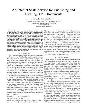An Internet-Scale Service for Publishing and Locating XML Documents