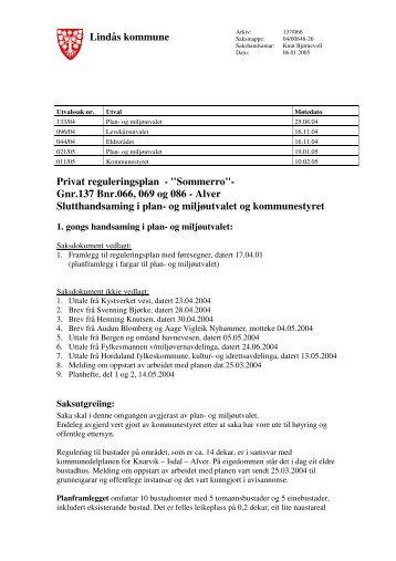 """Lindås kommune Privat reguleringsplan - """"Sommerro""""- Gnr.137 Bnr ..."""