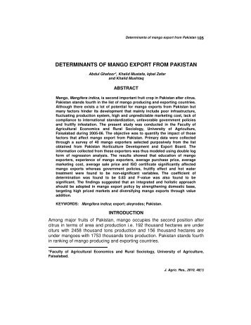 Determinants of Mango Export from Pakistan Abdul Ghafoor, Khalid ...