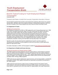 Federal Funding for Youth Employment-Related Transportation