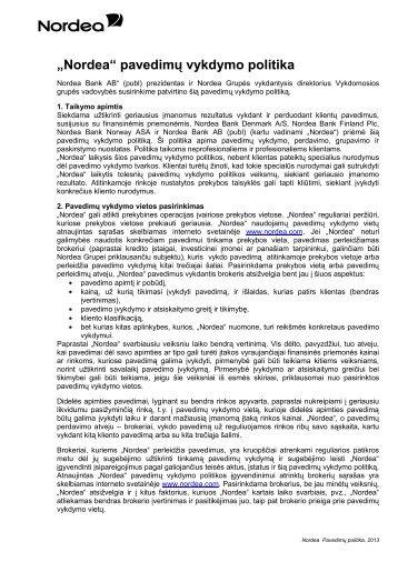 """""""Nordea"""" pavedimų vykdymo politika - Nordea Bank Lietuva"""