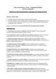 Státní závěrečné zkoušky – zkušební okruhy - Univerzita Karlova