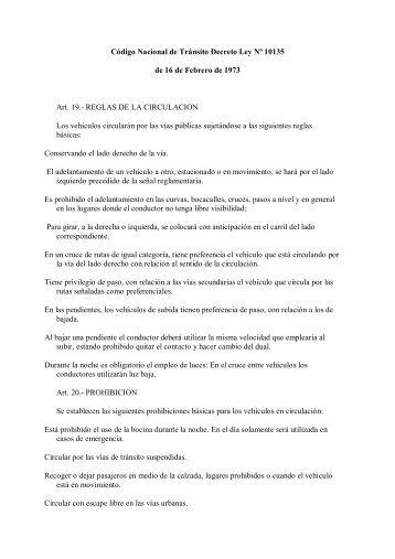 Código Nacional de Tránsito Decreto Ley Nº 10135 de 16 de ...